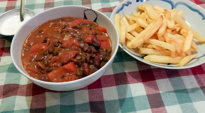 Recept chili met chocola en patat
