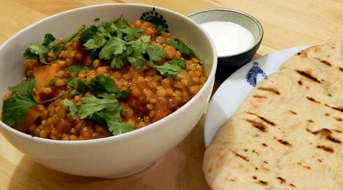 Recept curry linzen zoete aardappel