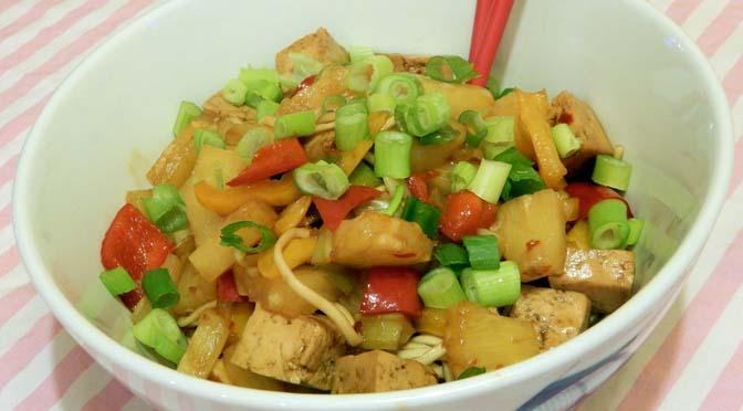 Recept noedels met ananas en tofu