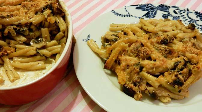 Recept pasta met paddenstoelen uit de oven