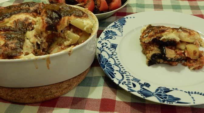 Recept vegetarische moussaka met linzen