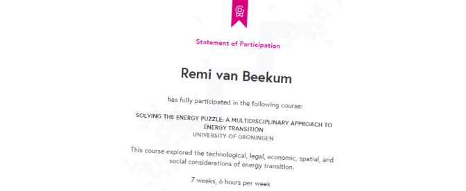 Statement of Participation for Solving the Energy Puzzle-FutureLearn