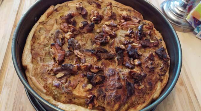 Veganized recept: hartige taart met prei en paddenstoelen